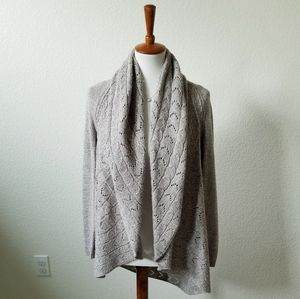 Karen Scott Gray Oversized Knitted Open Cardigan